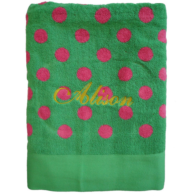 Personalised Beach Towel Pegs: Pink & Green Polka Dot Towel