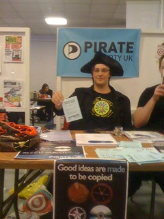 Pirate Party stall at Strathclyde Uni freshers fair.