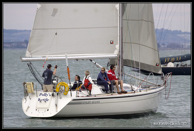A Dehler 36 CWS yacht sailing off Cowes, Isle of Wight, UK