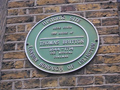 Photo of Thomas Britton green plaque