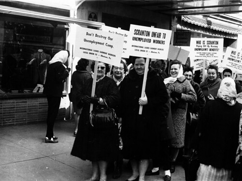 Pickets protest unemployment policies in Scranton, March 15, 1964.
