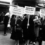 Pickets protest unemployment policies in Scranton, March 15, 1964.