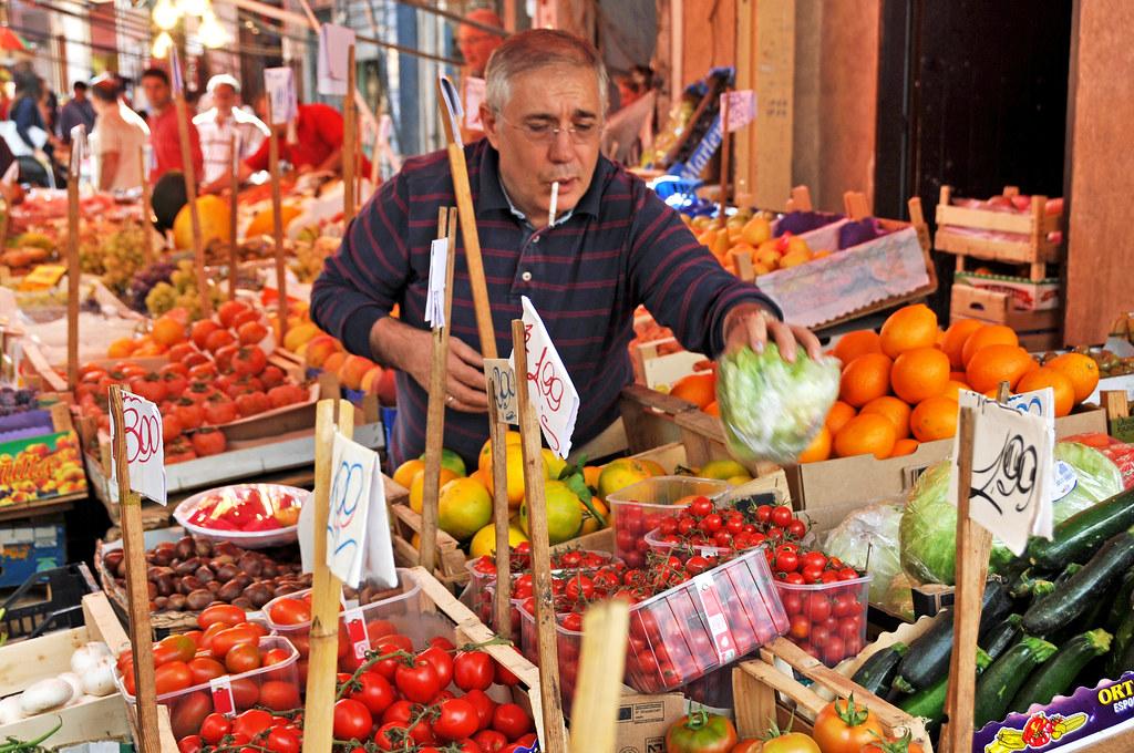 Street market in Italy