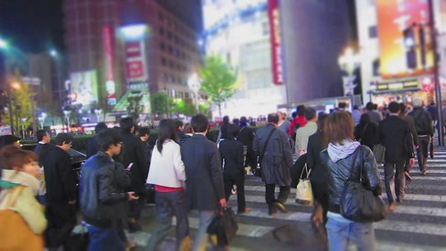 Busy street crossing in Shinjuku district of Tokyo, Japan