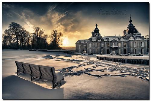 winter sunset shadow sky test snow castle garden traces jardin ombre ciel neige château hdr banc coucherdesoleil hivers modave châteaudemodave