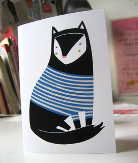 stripey cat card