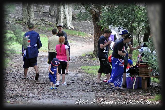 Family having a picnic on Australia Day