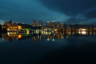 Vancouver at Night - Waterfront Reflections with a Moody Sky