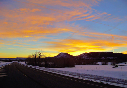 road sunset snow newmexico evening colorado