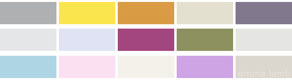 colour palette : caught between two seasons - curated by Emma Lamb