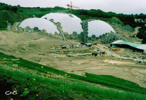 The Eden Project - the building works in May 2000, year before opening offically by Claire Stocker (Stocker Images)