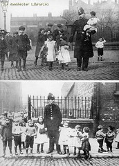 Police protection of schoolchildren, Cavendish Street, 1913