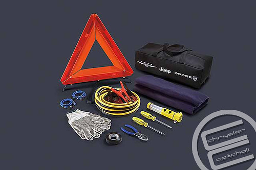 Roadside Safety Kit:  Safety kit includes flashlight, fleece blanket, six-gauge jumper cables, safety triangle, screwdrivers, pliers, two bungee cords and gloves. (MSRP: $103.00, Part No. 82211983)
