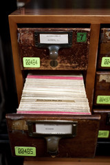library card catalog drawer