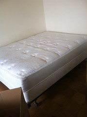 bed sheet(0.0), studio couch(0.0), floor(1.0), bed frame(1.0), furniture(1.0), mattress pad(1.0), room(1.0), box-spring(1.0), bed(1.0), mattress(1.0),