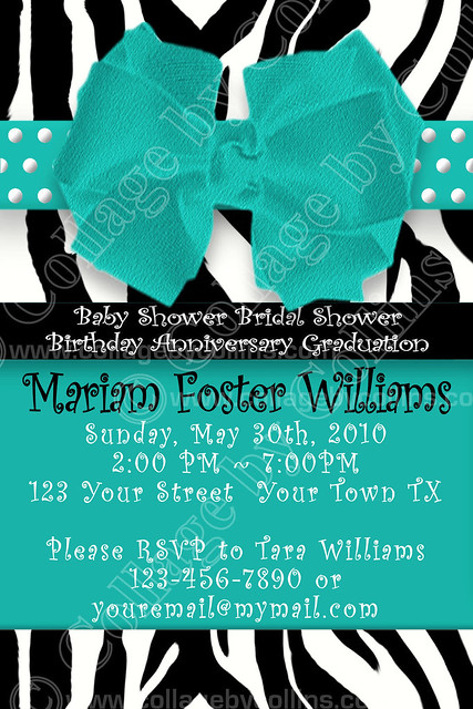 aqua teal custom personalized baby bridal shower invitation
