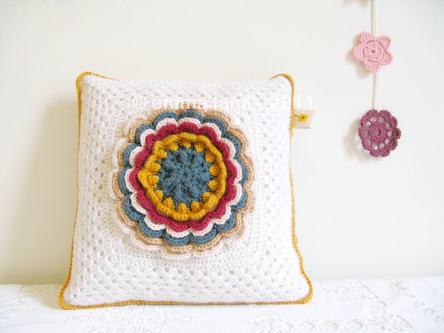 Esther, fabulous rose crochet cushion by Emma Lamb