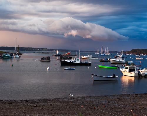 sunset storm green clouds boat maine lobsterboat baileyisland cloudsstormssunsetssunrises garrisoncove