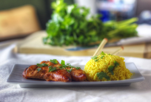 Teriyaki Chicken with Coriander Rice HDR