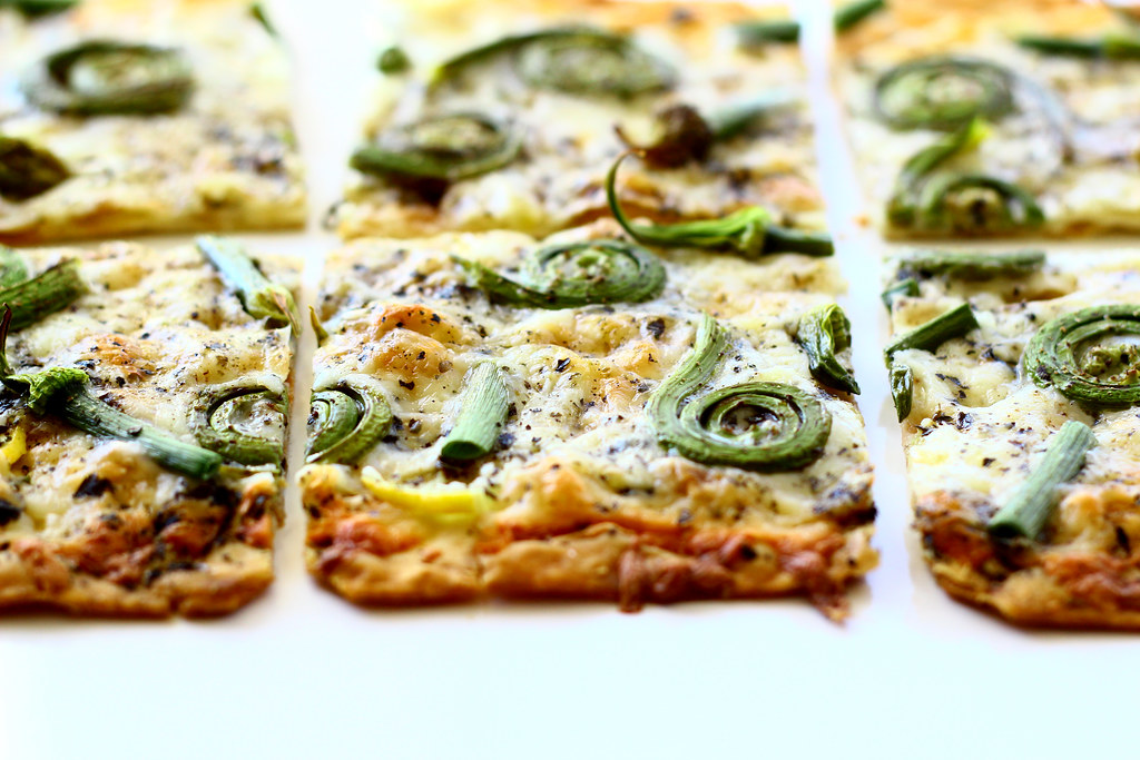 Flatbread Pizza with Fiddlehead Ferns and Onion Scapes