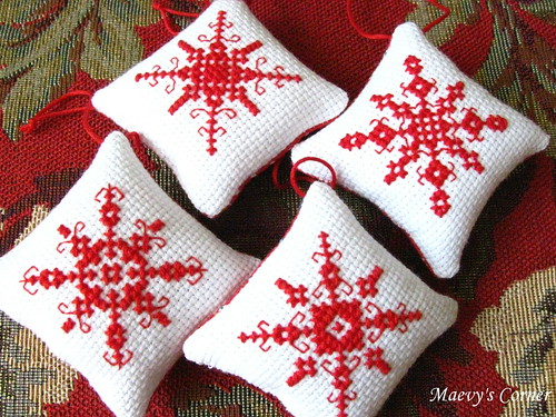 Cross-stitched ornaments