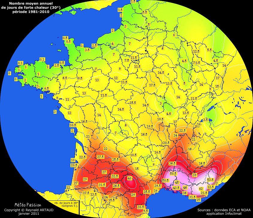 nombre moyen annuel de jours avec forte chaleur (30°) en France pour la période 1981-2010
