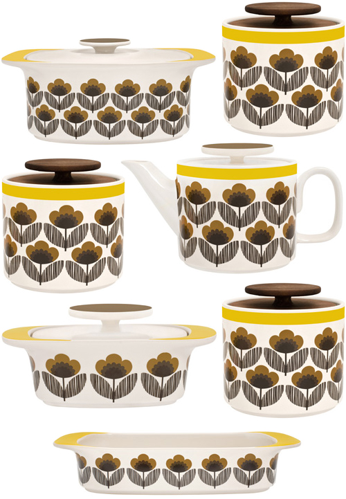 Orla Kiely's Poppy Meadow kitchen collection in yellow