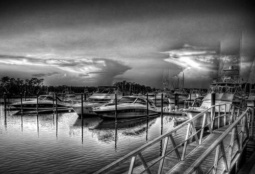 bw boats blackwhite alabama wharf hdr gulfshoresal