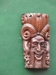 carving, art, sculpture, head, stone carving, tiki, statue,