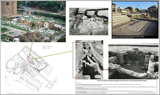 Roma, Foro di Nerva: Via del Sole angolo & Via Salara cortile con portici (1930, 1983-89, & 2011).
