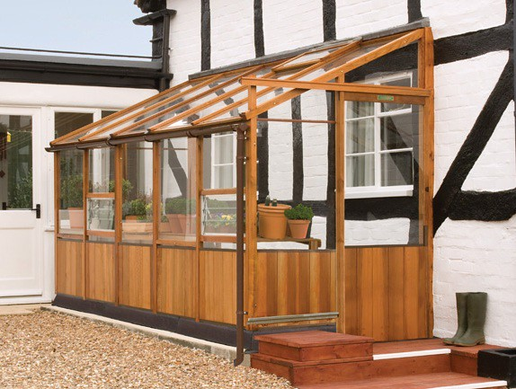 Lean to cedar greenhouse
