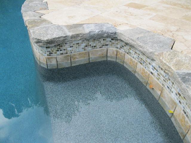 Custom Granite Pool Coping And Glass Tile Oldworldstoneand