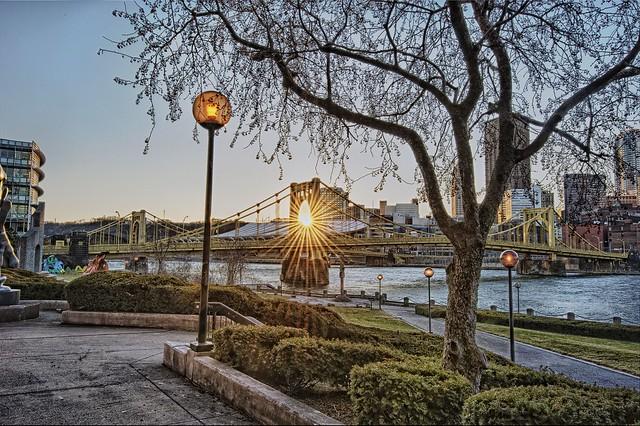 Sunflare through Rachel Carson Bridge HDR