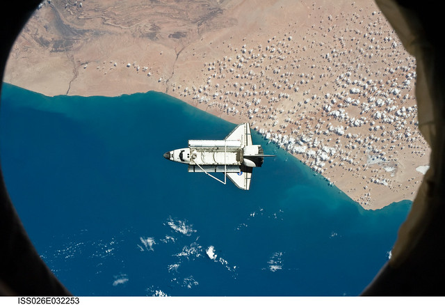 Space Shuttle Discovery Over Morocco (NASA, International Space Station, 03/07/11)
