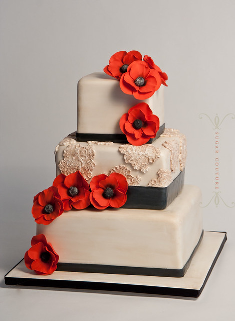 vintage lace poppy wedding cake