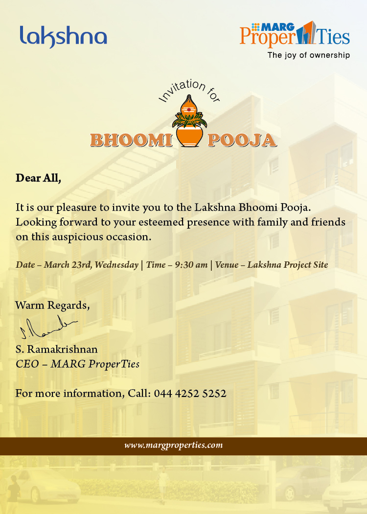 bhoomi pooja invite | IT is our pleasure to invite you to ...