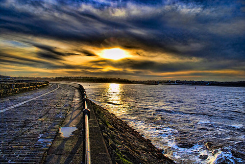 Towards South Shields from the Pier at Sunset by Jennie Anderson