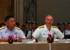 BANGKOK, Thailand (Mar. 29, 2011)  Rear Adm. Thomas F. Carney, Deputy Chief of Staff for Plans, Policies and Requirements, U.S. Pacific Fleet, right, delivers his opening remarks as senior attendees listen during the 2011 Senior Leaders Seminar. (U.S. Navy photo by Mass Communication Specialist 2nd Class Jessica Bidwell/Released)