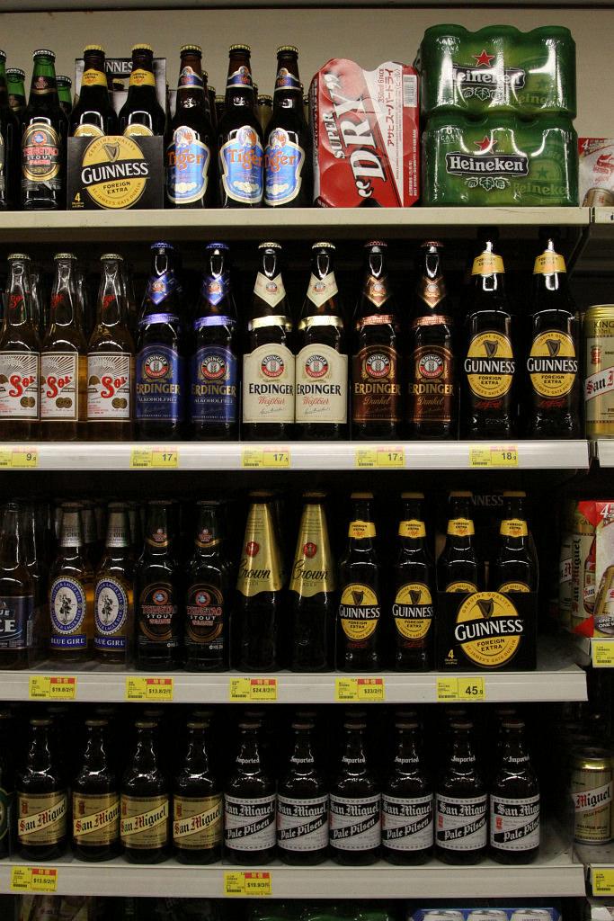 Beer selection at a Hong Kong supermarket