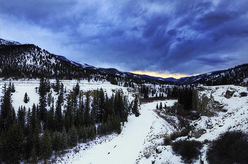 winter sunset snow cold ice river landscape frozen overlook lakecity hdr sanjuanmountains frozenriver coloradolandscape gunnisonriver lakefork hinsdalecounty lakecitycolorado nikon1424 nikon142428 nikond7000