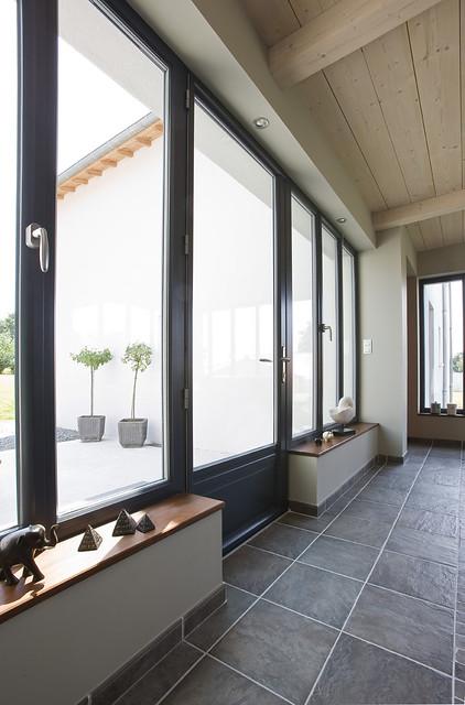 Fen tres et portes fen tres en aluminium de couleur janneau menuiseries f - Porte fenetre 3 vantaux ouvrants ...