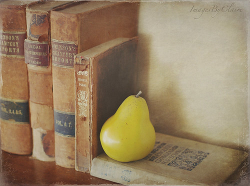 Vintage books & pear