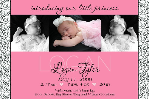 Modern Scroll Baby Girl Birth Announcement Flickr Sharing