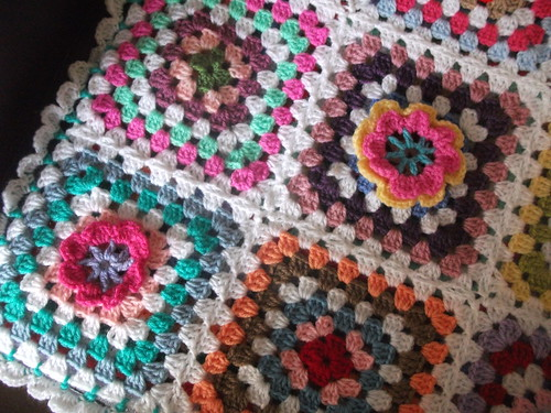 granny squared crochet flower cushion cover by fishoseven