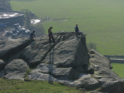 Climbers on Almscliffe Crag