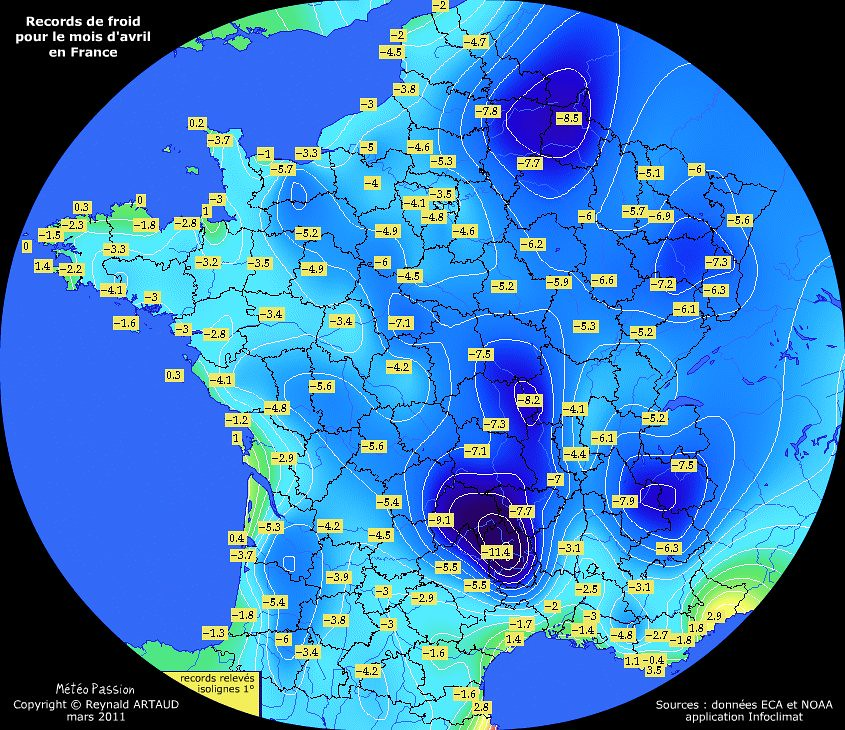 records de froid des températures minimales en avril pour la France Reynald ARTAUD météopassion