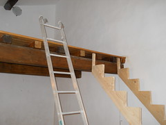 wall, wood, beam, hardwood, stairs, ladder,