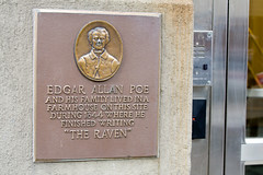 Photo of Edgar Allan Poe red plaque