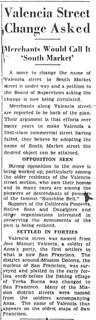 """Plan to rename Valencia Street to """"South Market"""" (1935)"""