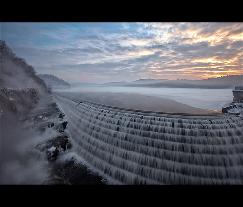 new winter mist snow ice sunrise dam croton hdr